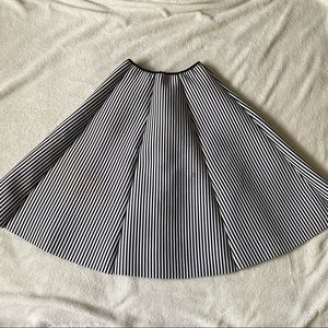 Foam backed fabric black and white striped skirt